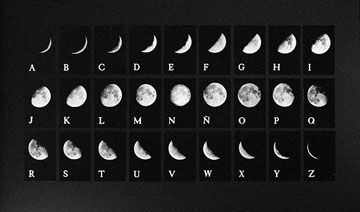 Invented alphabet made with photographs of the faces of the moon